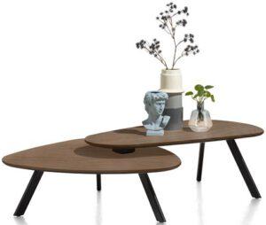 Henders & Hazel Livada salontafelset - 90 x 90 cm + 110 x 60 cm - choco brown  Bijzettafel