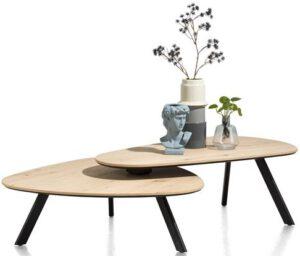 Henders & Hazel Livada salontafelset - 90 x 90 cm + 110 x 60 cm - natural  Bijzettafel