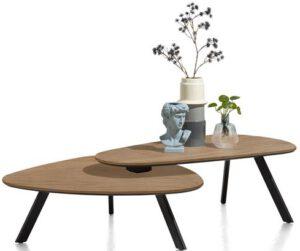 Henders & Hazel Livada salontafelset - 90 x 90 cm + 110 x 60 cm - railway brown lak  Bijzettafel