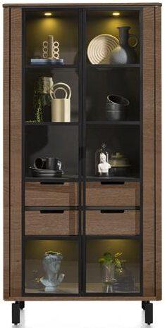 Henders & Hazel Livada vitrine 100 cm. - 2-glasdeuren + 2-laden - choco brown  Kast