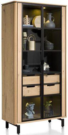 Henders & Hazel Livada vitrine 100 cm. - 2-glasdeuren + 2-laden - natural  Kast