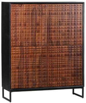 Nuts 4-deurs Kast Hout - Walnoot/zwart uit de Opbergen collectie van BePureHome bij Löwik Meubelen