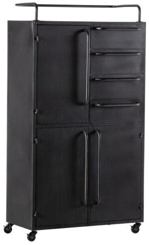 Black Beauty Kast Op Wielen Metaal - Zwart uit de Opbergen collectie van BePureHome bij Löwik Meubelen