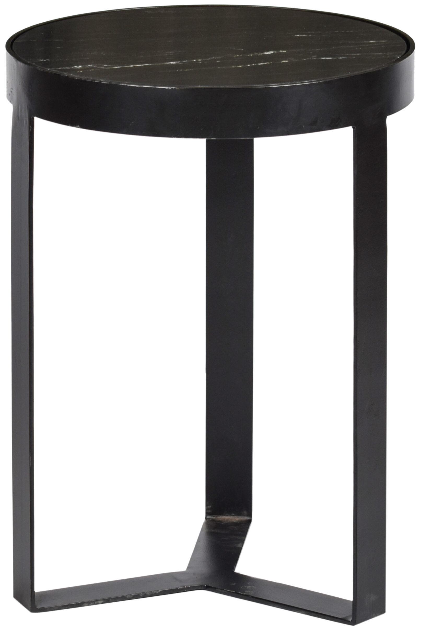 Livingfurn Bijzettafel Glennis Marble Black Black 40 cm  Bijzettafel