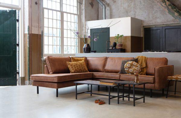 Rodeo Hoekbank Links Cognac uit de BePureHome collectie