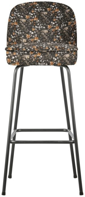 Vogue Barstoel 80cm Fluweel Aquarel Flower Zwart uit de BePureHome collectie