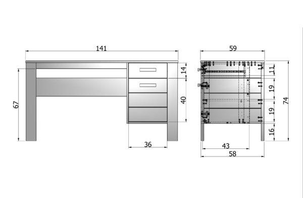 WOOOD Dennis Bureau Grenen Steel Grey Geborsteld Steel grey Bureau