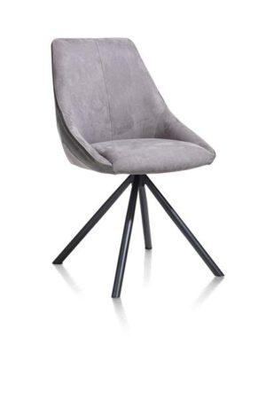Xooon Arwen eetkamerstoel zwart frame 4-poots + combi stof Savannah / Pala - steel grey  Eetkamerstoel