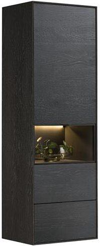 Xooon Elements bergkast smal - 60 cm. - 1-deur + 2-laden + 1-niche + led - onyx  Kast