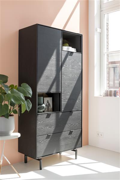 Xooon Elements dressoir 150 cm. - 1-deur + 1-lade + 3-niches + led - onyx  Dressoir