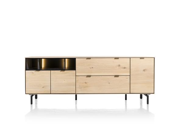 Xooon Elements dressoir 210 cm. - 3-deuren + 2-laden + 3-niches + led - natural  Dressoir
