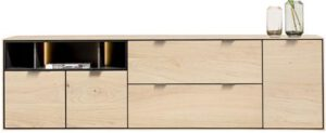 Xooon Elements dressoir 210 cm. - 3-deuren + 2-laden + 3-niches + led - natural  Dressoir
