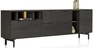 Xooon Elements dressoir 240 cm. - 3-deuren + 2-laden + 5-niches + led - onyx  Dressoir