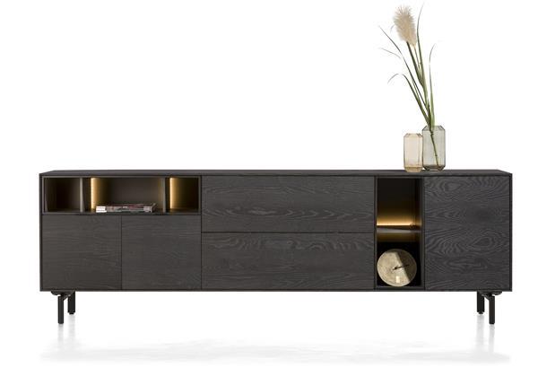 Xooon Elements dressoir 240 cm. - 3-deuren + 2-laden + 5-niches + led - onyx  Dressoir