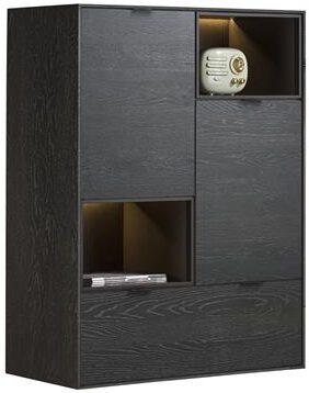 Xooon Elements highboard 90 cm. - 2-deuren + 1-lade + 2-niches + led - onyx  Kast