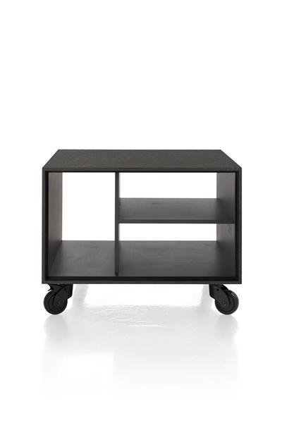 Xooon Elements hoektafel 60 x 60 cm. + 3-niches - met zwarte wielen & extra set poten - onyx  Bijzettafel