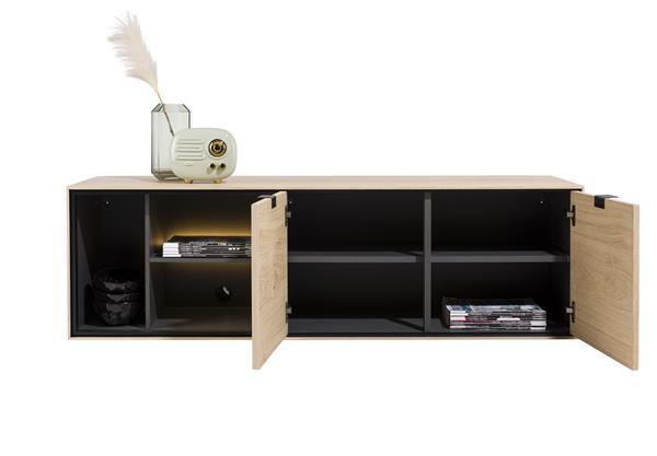 Xooon Elements lowboard 150 cm. - hang + 2-deuren + 3-niches + led - natural  Tv-dressoir