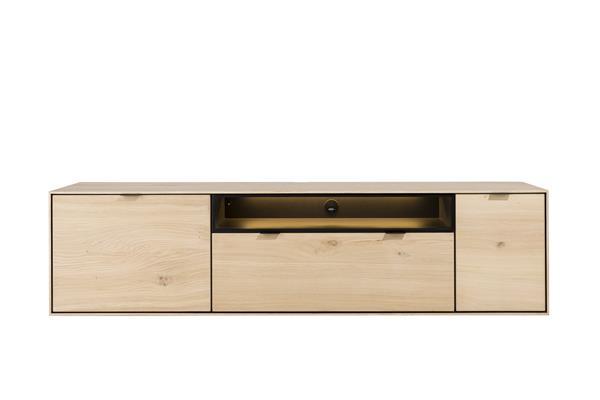 Xooon Elements lowboard 180 cm. - hang + 1-deur + 1-lade + klep + 1-niche + led - natural  Tv-dressoir