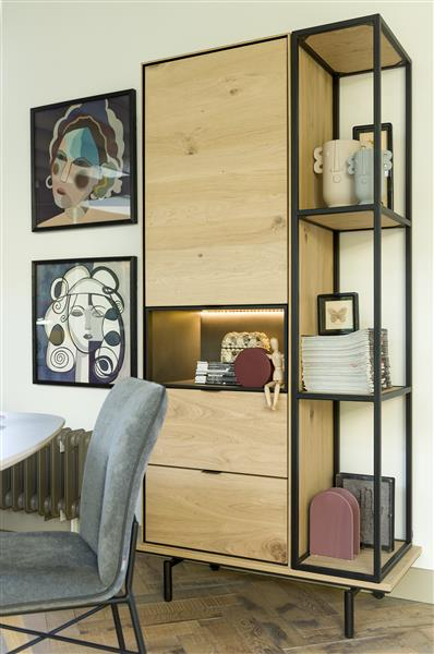 Xooon Elements lowboard 210 cm. - hang + 2-deuren + klep + 3-niches + led - onyx  Tv-dressoir