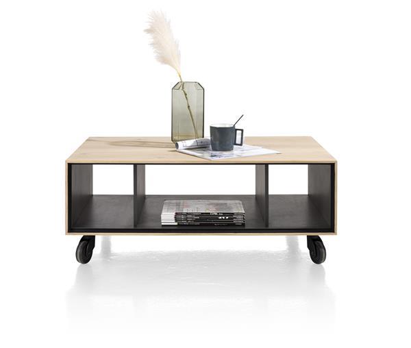 Xooon Elements salontafel 60 x 90 cm. + 3-niches - met zwarte wielen & extra set poten - natural  Bijzettafel