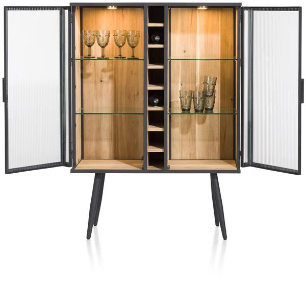 Xooon Kinna wijnkast 100 cm - 2-glasdeuren + 8-wijnvakken (+ LED)  Kast