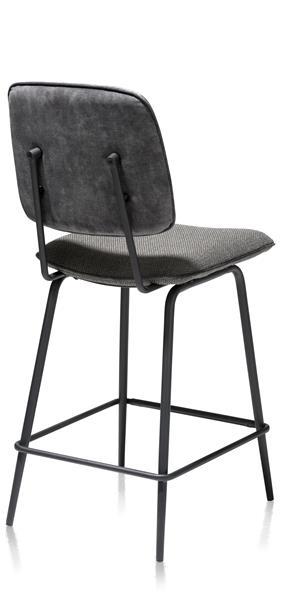 Xooon Novali barstoel - frame off black - rug in Karese & zit in Vito - antraciet  Eetkamerstoel