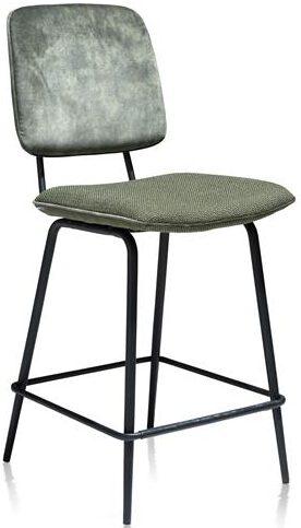 Xooon Novali barstoel - frame off black - rug in Karese & zit in Vito - olijf  Eetkamerstoel