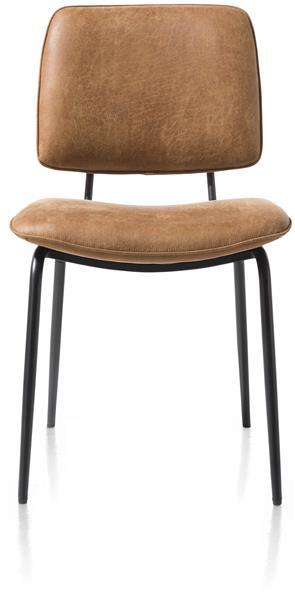 Xooon Novali eetkamerstoel - frame off black - Secilia - cognac  Eetkamerstoel