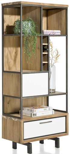 Xooon Otta complete boekenkast 80 cm. + 1-deur + 1-lade + 5-niches + 4-wijnvakken - 80 cm. (45719 + 45722)  Kast