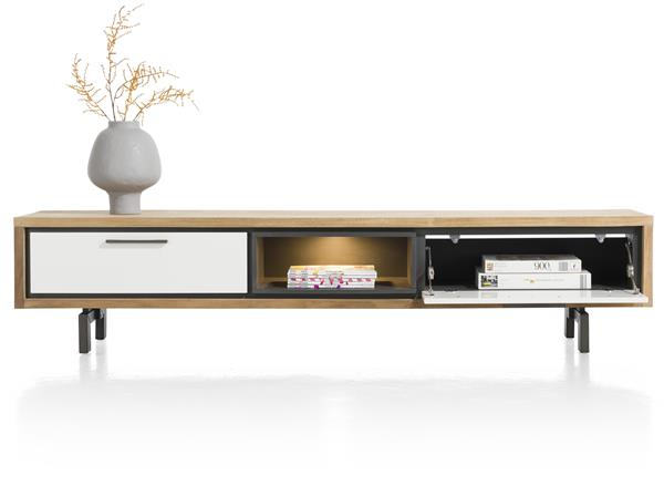 Xooon Otta tv-dressoir 210 cm. - 1-lade + 1-klep + 1-niche (+ LED)  Tv-dressoir