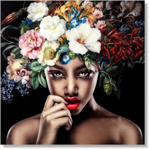 Feelings Pretty flower woman wanddecoratie glas Wanddecoratie