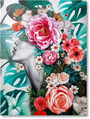 Feelings Touched flower lady wanddecoratie  Wanddecoratie