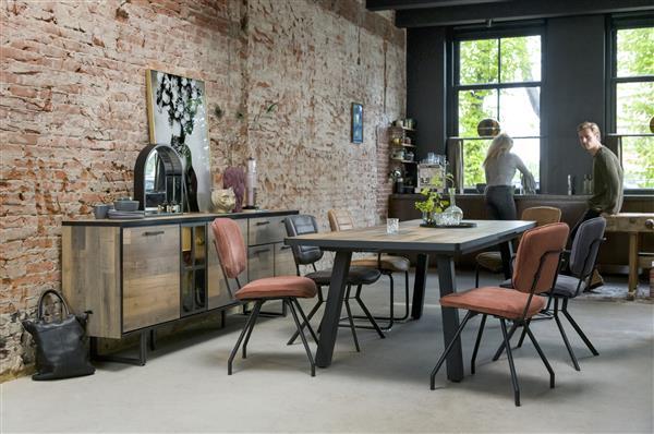 Henders & Hazel Lucas eetkamerstoel swing frame rond - stof secilia - cognac  Eetkamerstoel