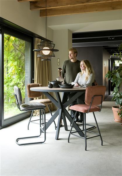 Henders & Hazel Lucy eetkamerstoel 4-poots met kruis-verbinding - stof maison - koper  Eetkamerstoel
