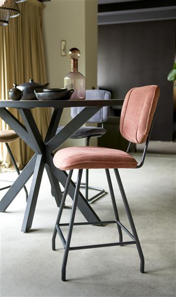 Henders & Hazel Lucy eetkamerstoel swing frame vierkant - stof maison - donkergrijs  Eetkamerstoel