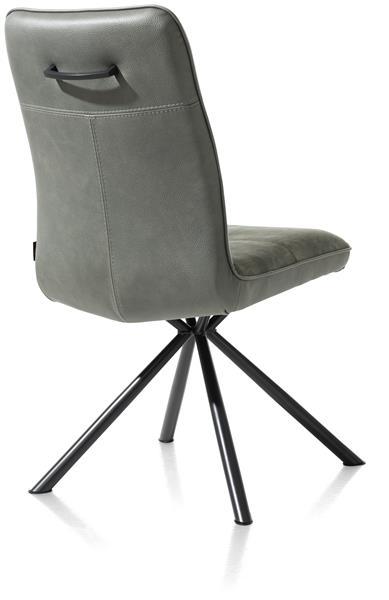 Henders & Hazel Milva eetkamerstoel - zwart frame 4-poots + greep - combi Pala/Karese - groen  Eetkamerstoel