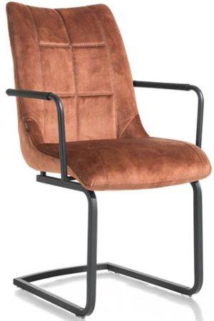 Henders & Hazel Mischa armstoel - swing vierkant + greep - stof Karese - koper  Armstoel