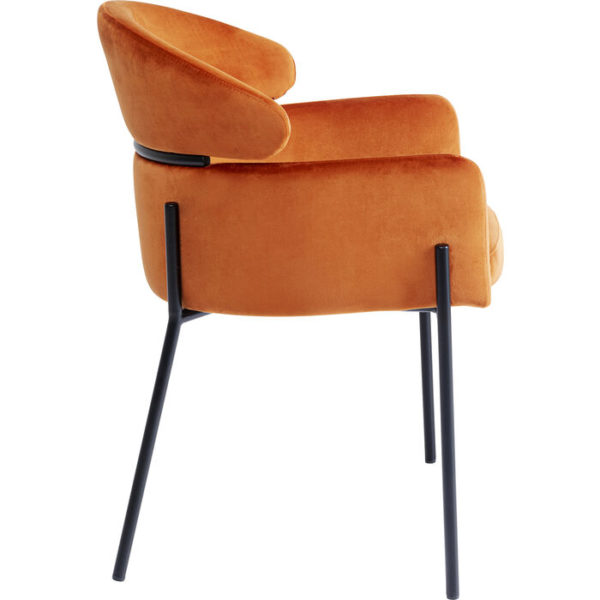 Armstoel with Armrest Alexia Velvet Orange Kare Design Armstoel 85679