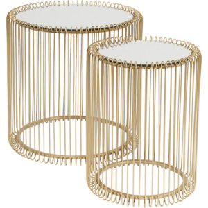 Bijzettafel Table Wire Brass (2/Set) Ø44cm Kare Design Bijzettafel 83457