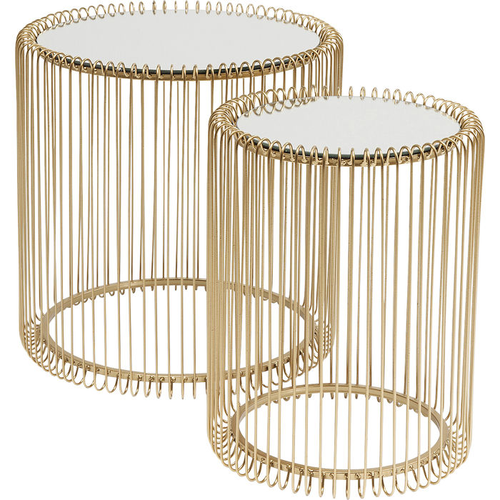 Bijzettafel Wire Brass (2/Set) -Ø44cm