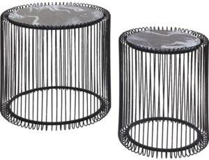 Bijzettafel Table Wire Marble Glass Black (2/Set) Ø44cm Kare Design Bijzettafel 84328