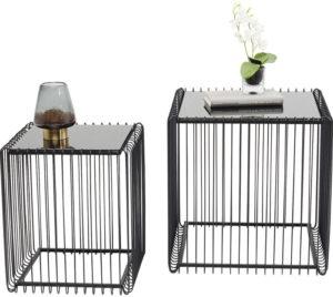 Bijzettafel Table Wire Square Black (2/Set) 45x45cm Kare Design Bijzettafel 83621