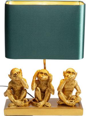 Tafellamp Lamp Animal Three Monkey Gold Kare Design Tafellamp 53222