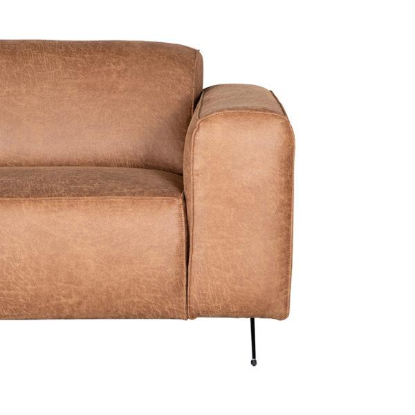LABEL51 Bank Modena - Cognac - Microfiber - 3-Zits Cognac Barstoel