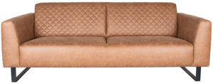 LABEL51 Bank Nola - Cognac - Microfiber - 3-Zits Cognac Barstoel