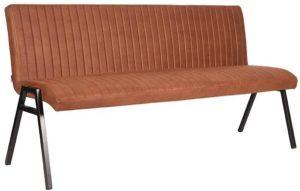 LABEL51 Eetkamerbank Matz - Cognac - Microfiber - 175 cm Cognac Eetkamerstoel