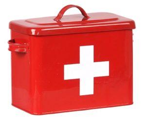 LABEL51 Opbergblik EHBO Opbergkist - Rood hoogglans - Metaal Rood hoogglans Poef