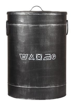 LABEL51 Opbergblik Wasmand - Zwart - Metaal - L Zwart Poef