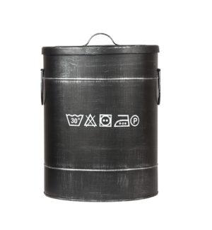 LABEL51 Opbergblik Wasmand - Zwart - Metaal - M Zwart Poef