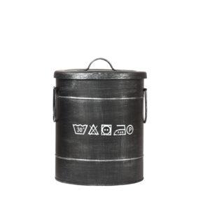 LABEL51 Opbergblik Wasmand - Zwart - Metaal - S Zwart Poef